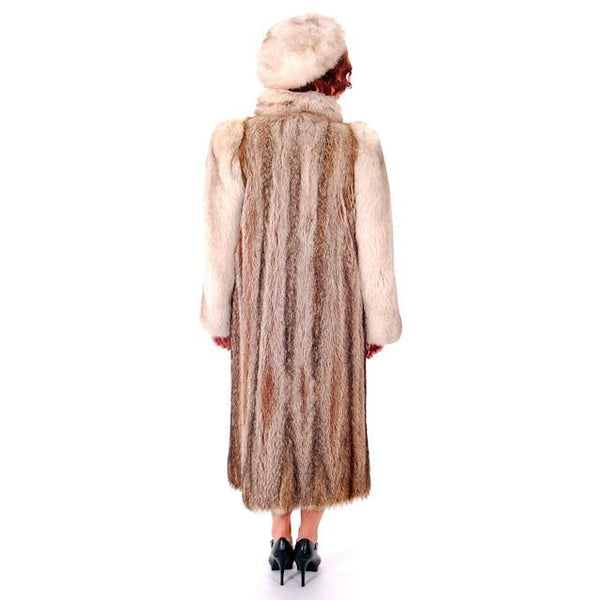 Vintage  Fox w/Raccoon Fur Maxi Coat Circa 1990s  w/ Matching Hat Paul Magder Furs - The Best Vintage Clothing  - 3