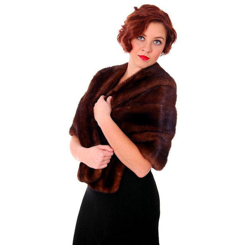 Vintage Dark Brown Ranch Mink Stole 1950s Luxury Fur