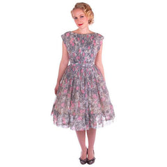 Vintage Pink & Gray Printed Floral Gauze Day Dress Sz 6 1950S - The Best Vintage Clothing  - 2