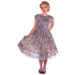 Vintage Pink & Gray Printed Floral Gauze Day Dress Sz 6 1950S - The Best Vintage Clothing  - 3
