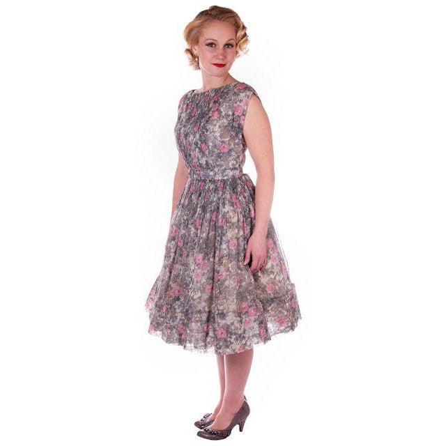 Vintage Pink & Gray Printed Floral Gauze Day Dress Sz 6 1950S - The Best Vintage Clothing  - 1