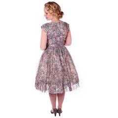 Vintage Pink & Gray Printed Floral Gauze Day Dress Sz 6 1950S - The Best Vintage Clothing  - 6