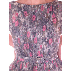Vintage Pink & Gray Printed Floral Gauze Day Dress Sz 6 1950S - The Best Vintage Clothing  - 4