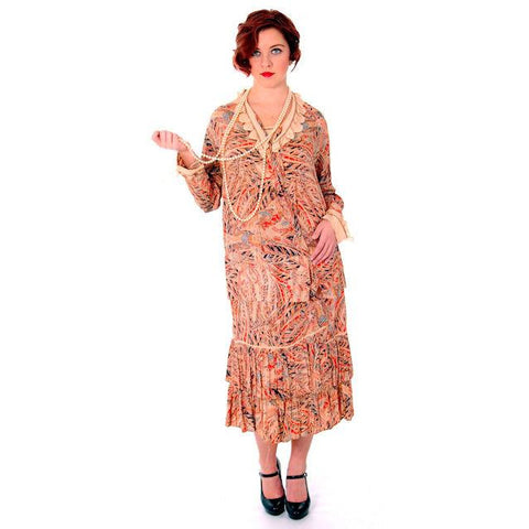 Vintage 1920s Flapper Dress Silk Printed 44 Bust  Pheasants Birds & Feathers Print