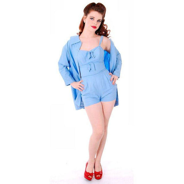 Vintage Pin-Up 1PC Bathing Suit & Coverup Baby Blue Cotton De Pinna 1940s Small - The Best Vintage Clothing  - 2