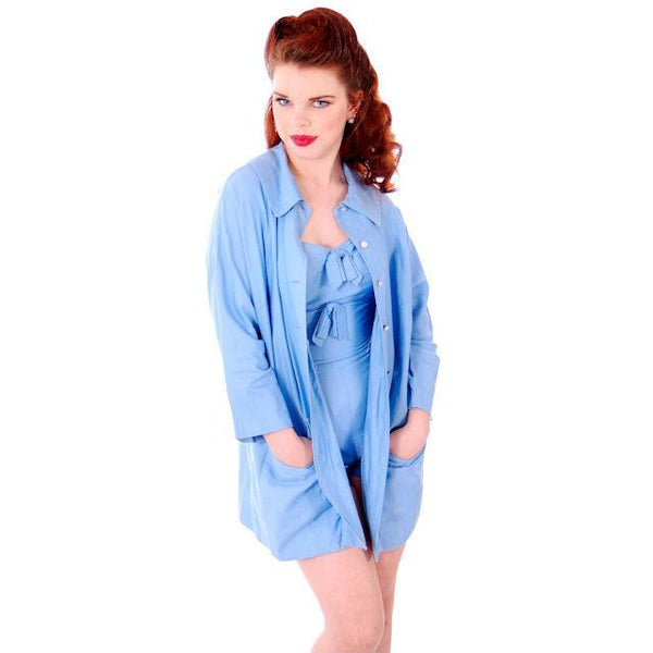 Vintage Pin-Up 1PC Bathing Suit & Coverup Baby Blue Cotton De Pinna 1940s Small - The Best Vintage Clothing  - 3