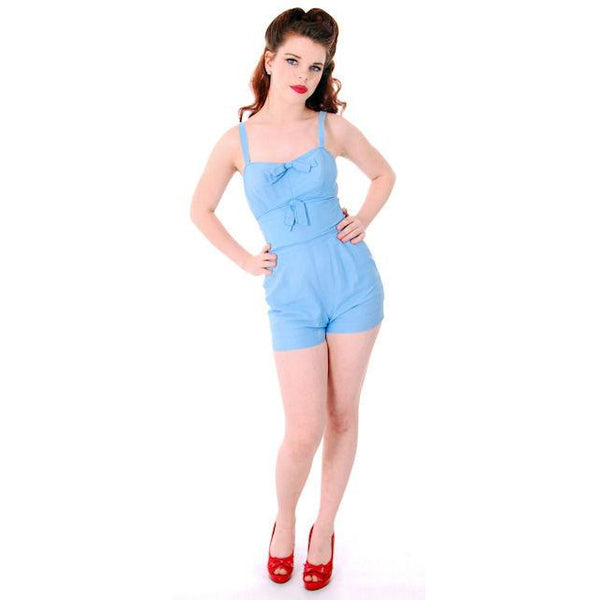 Vintage Pin-Up 1PC Bathing Suit & Coverup Baby Blue Cotton De Pinna 1940s Small - The Best Vintage Clothing  - 4