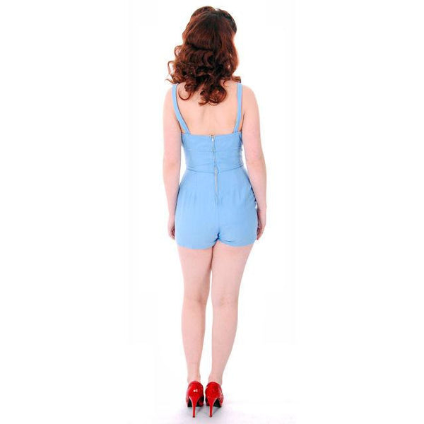 Vintage Pin-Up 1PC Bathing Suit & Coverup Baby Blue Cotton De Pinna 1940s Small - The Best Vintage Clothing  - 5