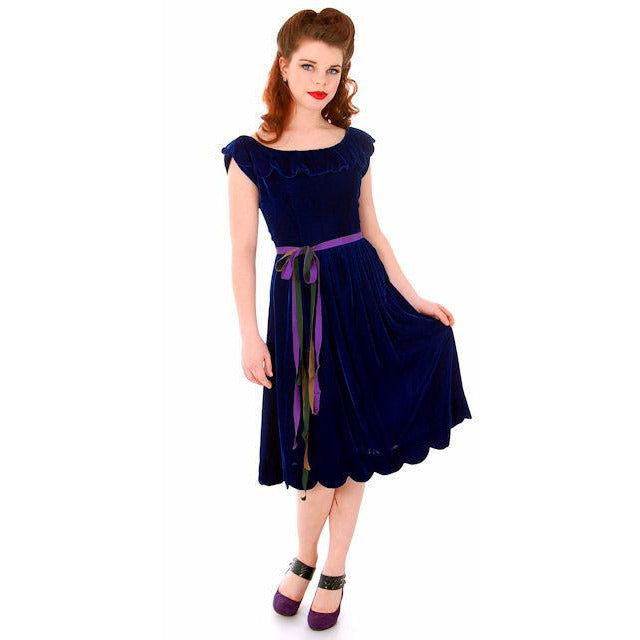 Vintage Sapphire Blue Velvet Party Dress 1940s Mary Muffet Limited Small NWT - The Best Vintage Clothing  - 1
