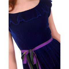 Vintage Sapphire Blue Velvet Party Dress 1940s Mary Muffet Limited Small NWT - The Best Vintage Clothing  - 6