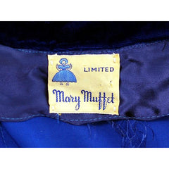 Vintage Sapphire Blue Velvet Party Dress 1940s Mary Muffet Limited Small NWT - The Best Vintage Clothing  - 7