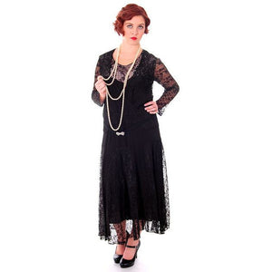 Vintage Black Spiderweb Lace & Sheer Silk Chiffon  Flapper Dress Late 1920s - The Best Vintage Clothing  - 1