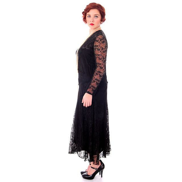 Vintage Black Spiderweb Lace & Sheer Silk Chiffon  Flapper Dress Late 1920s - The Best Vintage Clothing  - 2