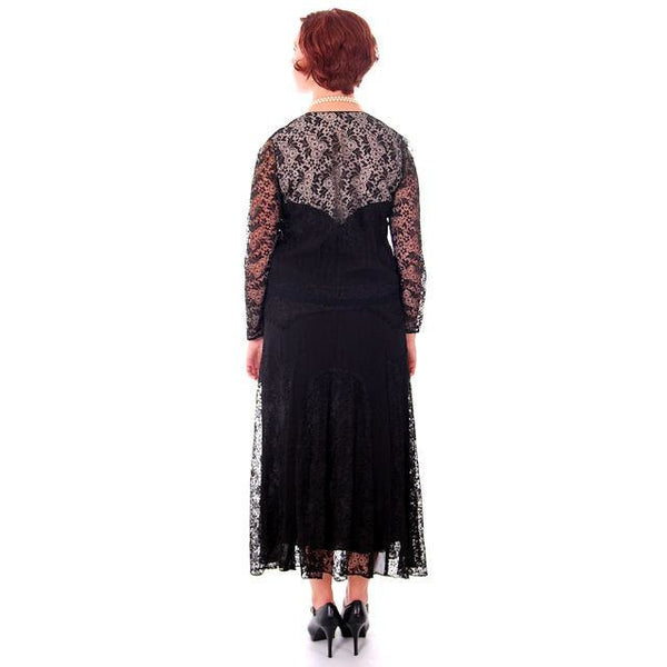 Vintage Black Spiderweb Lace & Sheer Silk Chiffon  Flapper Dress Late 1920s - The Best Vintage Clothing  - 3