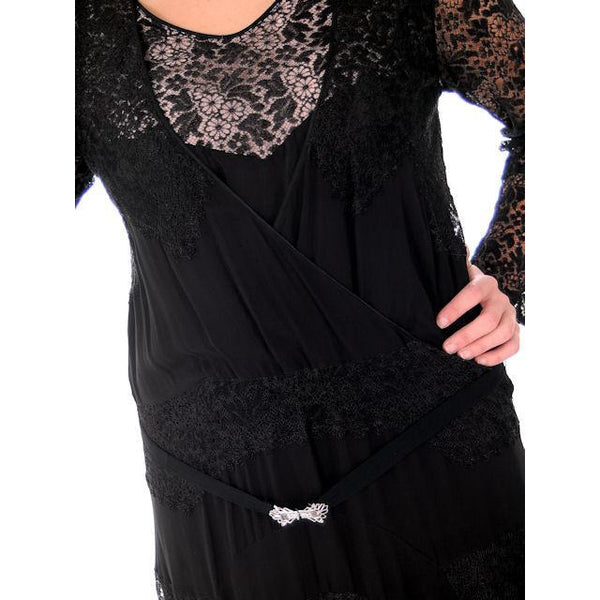 Vintage Black Spiderweb Lace & Sheer Silk Chiffon  Flapper Dress Late 1920s - The Best Vintage Clothing  - 4