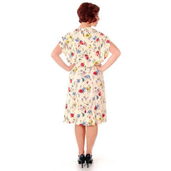 Vintage Rayon Printed Dress 1940s Larry Aldrich Floral Small Unique Sleeves - The Best Vintage Clothing  - 5