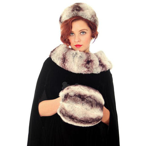 Vintage Chinchilla Fur Hat, Scarf & Muff Set 1950s Amrose