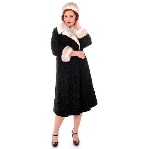 Vintage Ladies Coat Black Persian Lamb Mink Silver Mink Trim & Hat 1950s