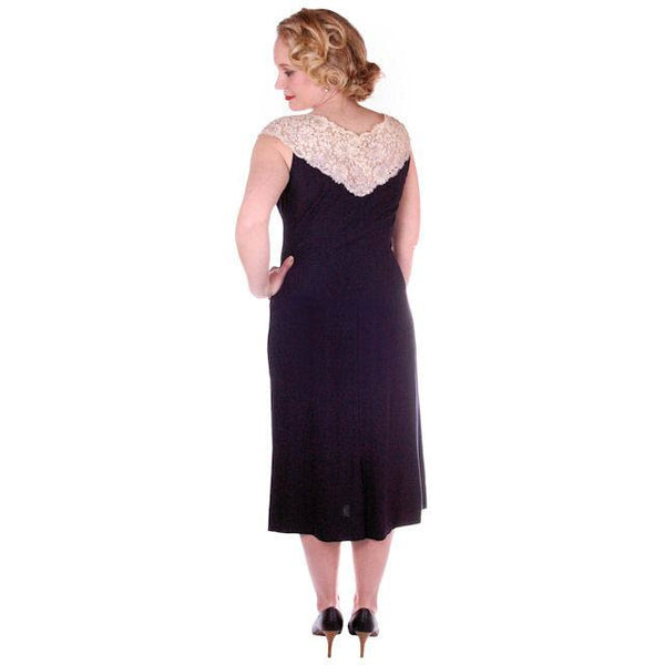 Vintage Black Wiggle Dress Lace Yoke 1950's 38B - The Best Vintage Clothing  - 2