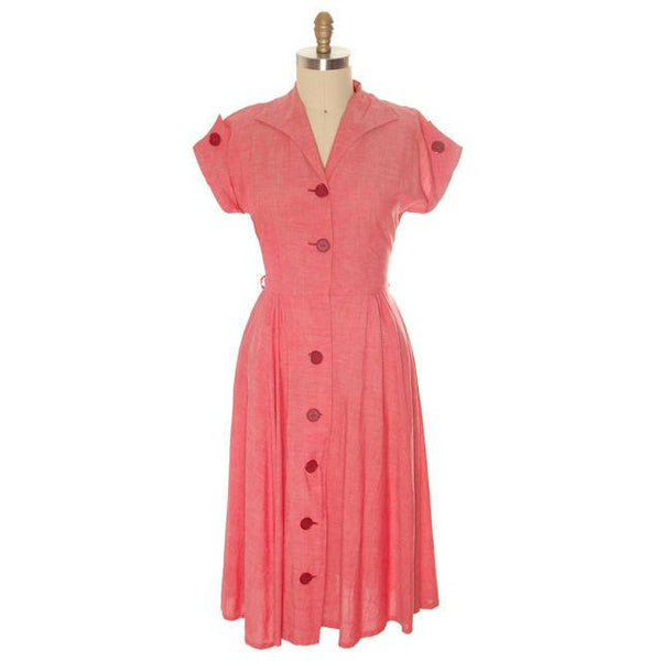 Vintage Womens House Dress Red Heather Cotton 1940s 38-30-Free - The Best Vintage Clothing  - 1