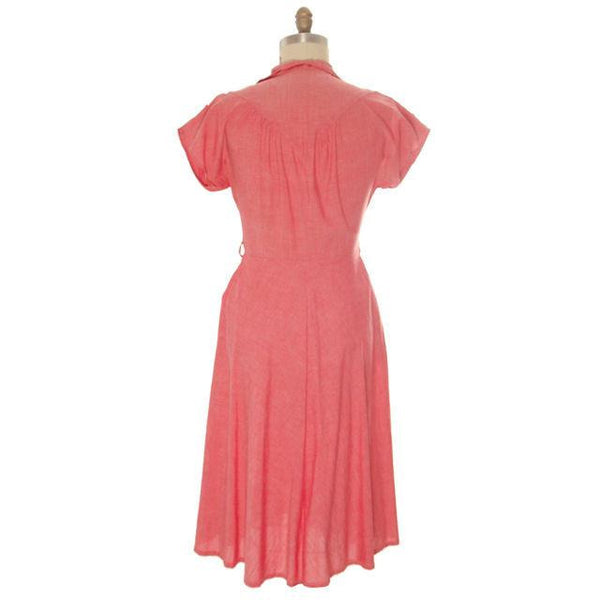 Vintage Womens House Dress Red Heather Cotton 1940s 38-30-Free - The Best Vintage Clothing  - 3