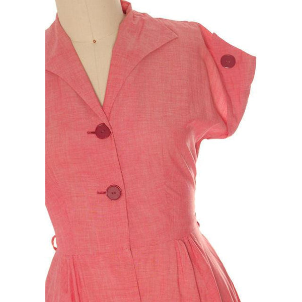 Vintage Womens House Dress Red Heather Cotton 1940s 38-30-Free - The Best Vintage Clothing  - 4