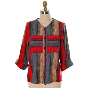 "Vintage Womens Color Block Flannel Shirt 1950s Lady Holiday 36"" Bust - The Best Vintage Clothing  - 1"