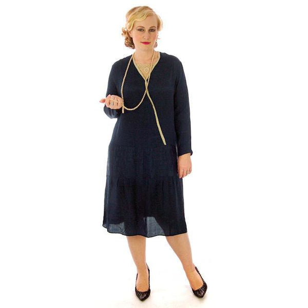 Vintage Flapper Dress Navy Blue Silk Lace Inset 1920s 45-45-48 - The Best Vintage Clothing  - 2