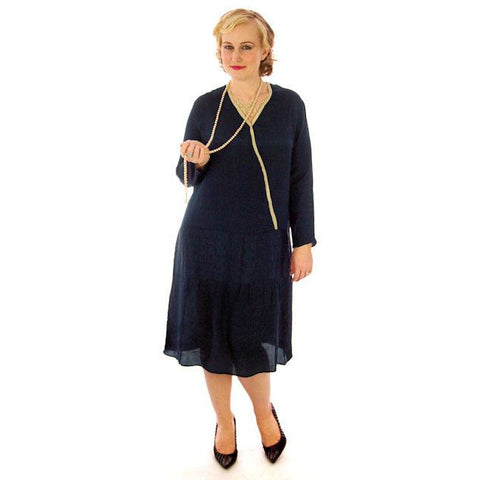 Vintage Flapper Dress Navy Blue Silk Lace Inset 1920s 45-45-48