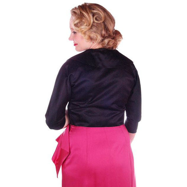 "Vintage Jacket  Black Silk Satin Midi Evening 1940S 34"" Bust - The Best Vintage Clothing  - 3"
