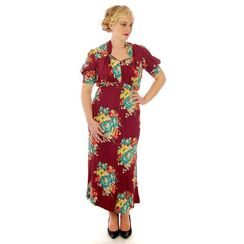 Vintage Plus Size Dressing Gown/Robe Rayon Print 1940s 42-36-42