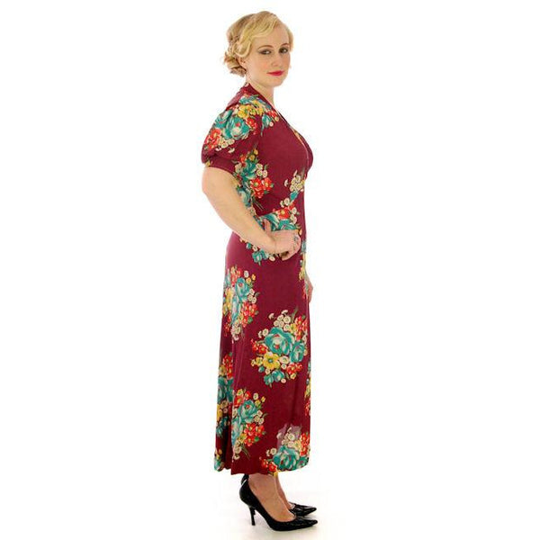 Vintage Plus Size Dressing Gown/Robe Rayon Print 1940s 42-36-42 - The Best Vintage Clothing  - 2