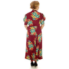 Vintage Plus Size Dressing Gown/Robe Rayon Print 1940s 42-36-42 - The Best Vintage Clothing  - 3