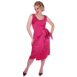 Vintage Hot Pink Satin Wiggle Cocktail Dress 1950's 38-26-40 - The Best Vintage Clothing  - 1