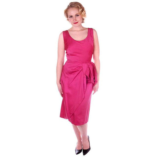 Vintage Hot Pink Satin Wiggle Cocktail Dress 1950's 38-26-40 - The Best Vintage Clothing  - 2
