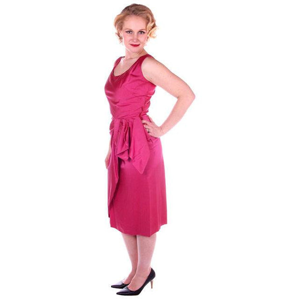 Vintage Hot Pink Satin Wiggle Cocktail Dress 1950's 38-26-40 - The Best Vintage Clothing  - 3