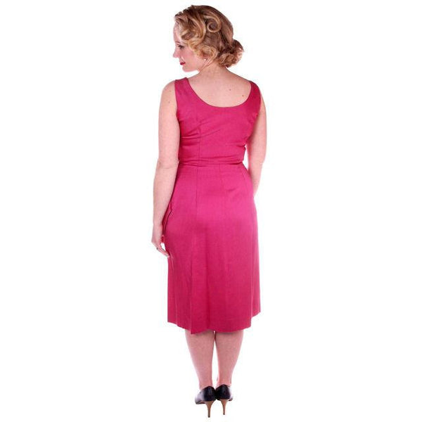 Vintage Hot Pink Satin Wiggle Cocktail Dress 1950's 38-26-40 - The Best Vintage Clothing  - 4