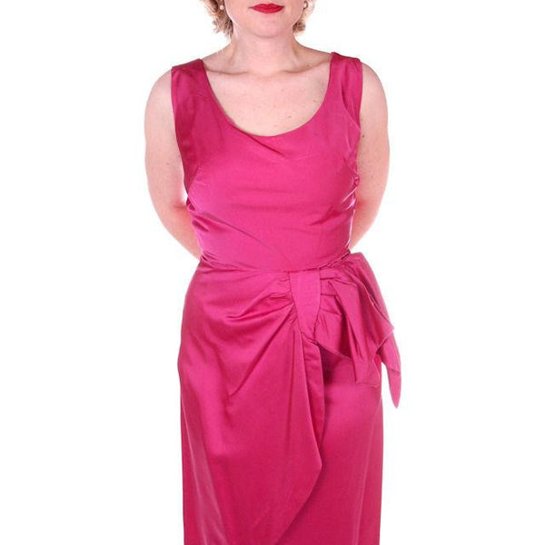 Vintage Hot Pink Satin Wiggle Cocktail Dress 1950's 38-26-40 - The Best Vintage Clothing  - 5