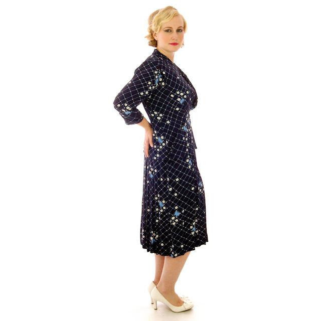 b72e4ac18dc Vintage Womens Dress   Jacket Navy Rayon 1940s Print Plus Size 40-35 ...