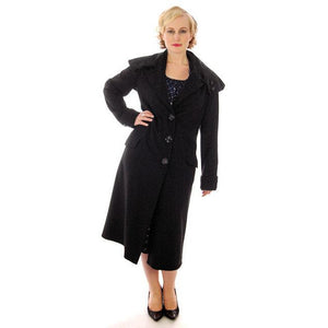 Vintage Womens Coat 1920s Black Wool w/ Pony Fur Collar Plus Size - The Best Vintage Clothing  - 1