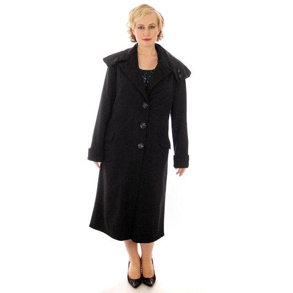 Vintage Womens Coat 1920s Black Wool w/ Pony Fur Collar Plus Size - The Best Vintage Clothing  - 2