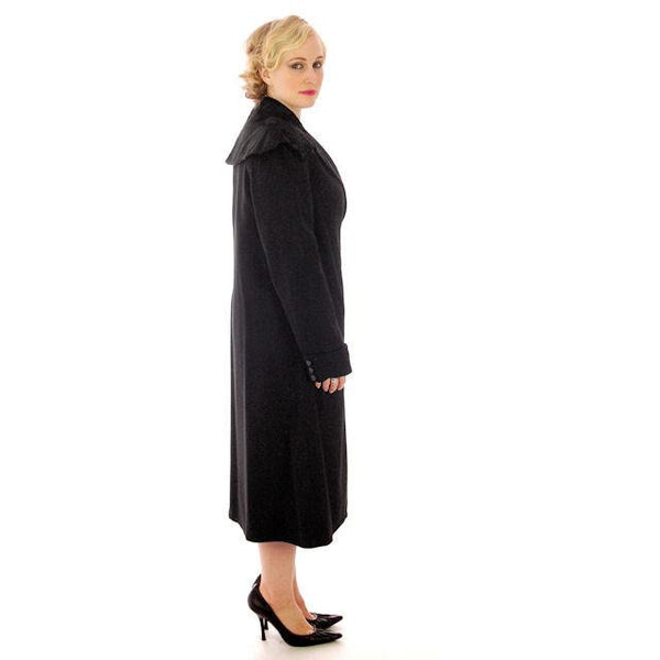 Vintage Womens Coat 1920s Black Wool w/ Pony Fur Collar Plus Size - The Best Vintage Clothing  - 3