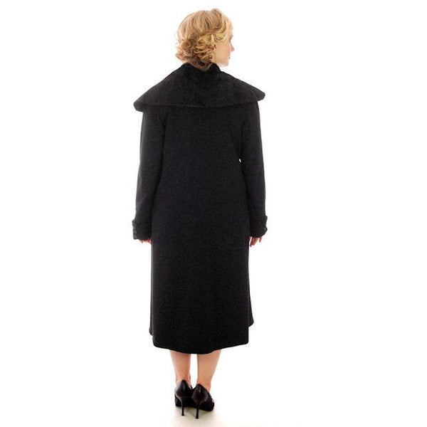 Vintage Womens Coat 1920s Black Wool w/ Pony Fur Collar Plus Size - The Best Vintage Clothing  - 4