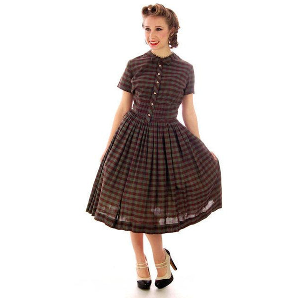 Vintage Day Dress Bobbie Brooks Brown/Green Plaid 1950s 34-24-Free - The Best Vintage Clothing  - 2