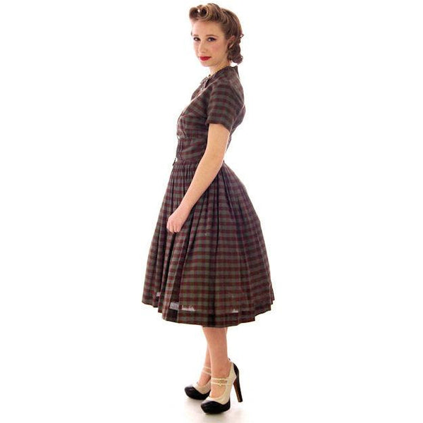 Vintage Day Dress Bobbie Brooks Brown/Green Plaid 1950s 34-24-Free - The Best Vintage Clothing  - 1