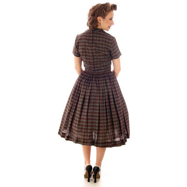 Vintage Day Dress Bobbie Brooks Brown/Green Plaid 1950s 34-24-Free - The Best Vintage Clothing  - 3