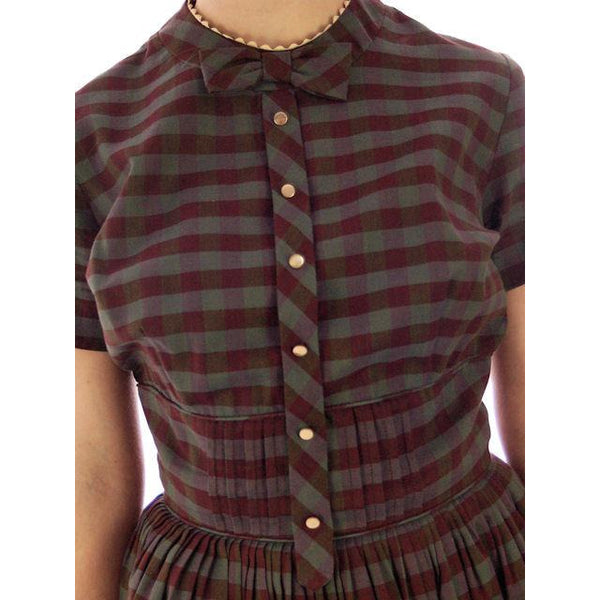 Vintage Day Dress Bobbie Brooks Brown/Green Plaid 1950s 34-24-Free - The Best Vintage Clothing  - 4