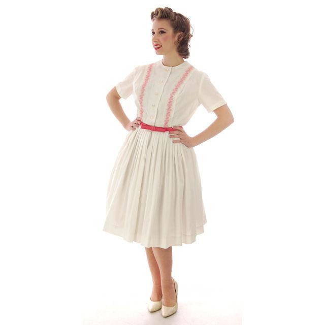 Vintage Day Dress White  w/Pink Embroidery Bobbie Brooks 1950s 36-26-Free