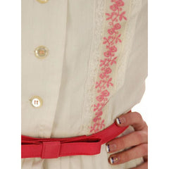 Vintage Day Dress White  w/Pink Embroidery Bobbie Brooks 1950s 36-26-Free - The Best Vintage Clothing  - 6