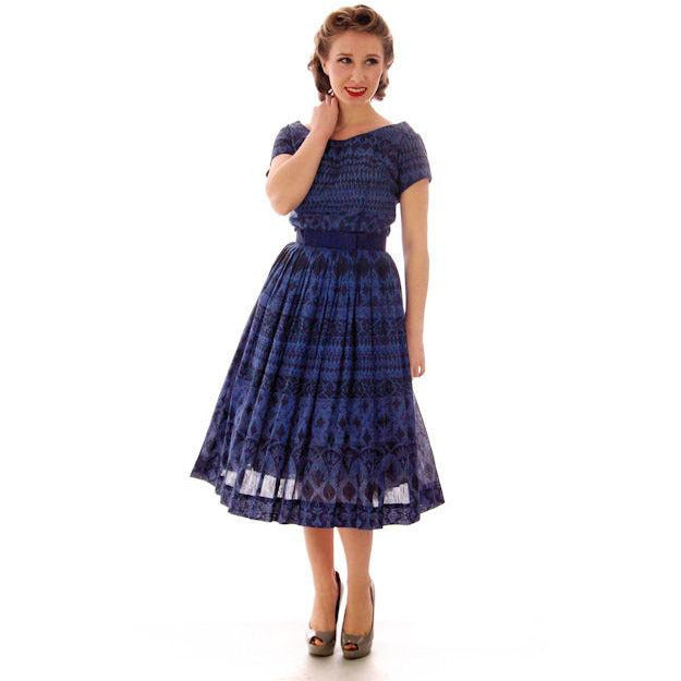 Vintage  Blue Day Dress Wendy Woods Full Skirt 1950s 34-24-Free - The Best Vintage Clothing  - 1